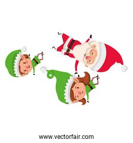 elf couple with santa claus avatar character