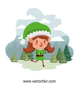 elf woman moving with christmas trees avatar character