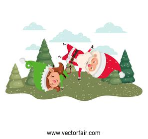 santa claus with elf woman moving with christmas trees