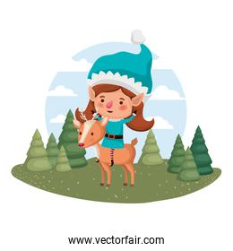 elf woman with reindeer and christmas trees with falling snow