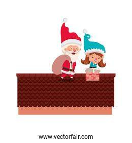 smiling santa claus with elf woman on roof avatar character