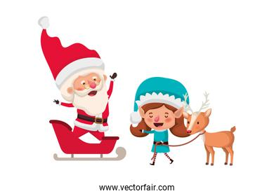 santa claus with elf woman in sleigh avatar character