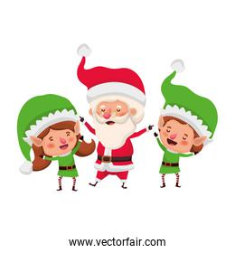 couple elves with santa claus avatar character