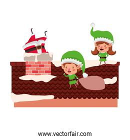 santa claus with couple elves on roof avatar character