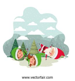 couple elves with santa claus and christmas trees with snow