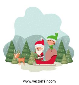 santa claus with elves in sleigh and christmas trees with falling snow avatar character