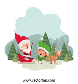 santa claus with elves in sleigh and christmas trees with falling snow avatar character design