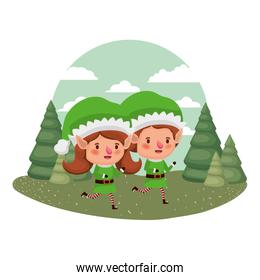 couple of elves moving and christmas trees with falling snow