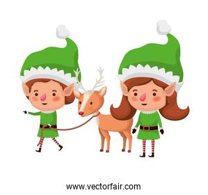 elves couple with reindeer avatar character