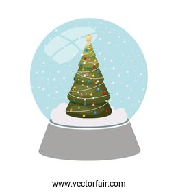 christmas pine in crystal ball isolated icon