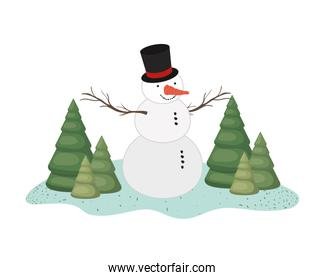 snow man with pine trees icon isolated