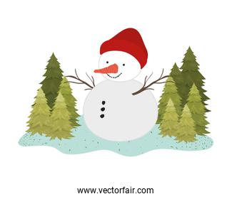 snow man with pine trees isolated icon