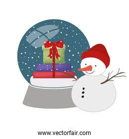 gift boxes in crystal ball and snow man isolated icon