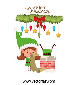elves couple with list gifts and merry christmas time avatar character