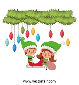 elves couple with sleigh and garland with christmas balls