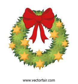 garland with bow and stars isolated icon