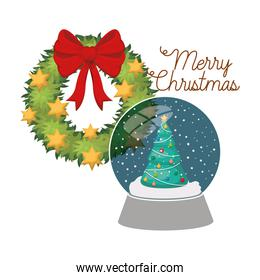 christmas pine in crystal ball with garland and bow isolated icon
