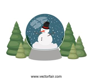 snowman and christmas pine in crystal ball