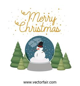snowman and christmas pine in crystal ball isolated icon