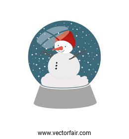 snow man in crystal ball isolated icon