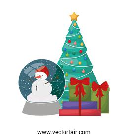 christmas tree with snow man in crystal ball isolated icon