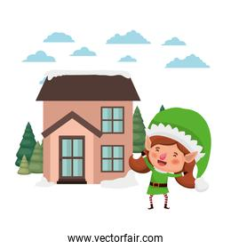 house with pine trees and elf woman walking