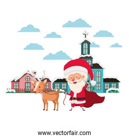 church in neighborhood and santa claus with reindeer