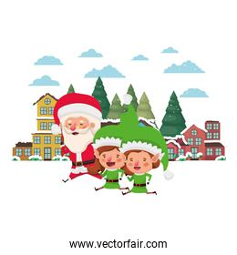 neighborhood and elf couple with santa claus