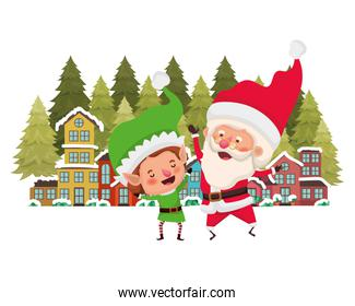 neighborhood with pine trees and santa claus with elf