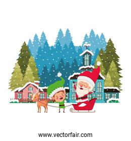 neighborhood with pine trees and santa claus with elf in sleigh