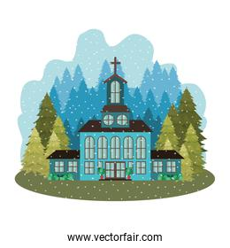 church with pines falling snow avatar character