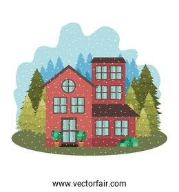 house with garden pine trees and snow falling