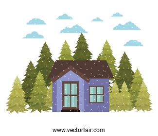 house with pine trees and snow isolated icon