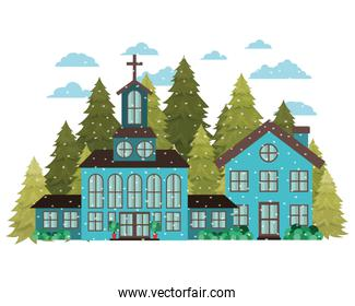 church in neighborhood with pines falling snow avatar character