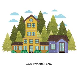 neighborhood with pine trees and snow isolated icon
