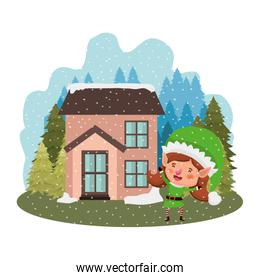 house with pine trees falling snow and elf woman