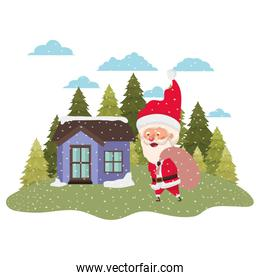 house with pine trees falling snow and santa claus