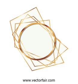 golden frame circle isolated icon