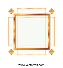 golden frame rectangle isolated icon