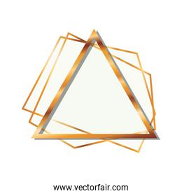 golden frame triangle isolated icon
