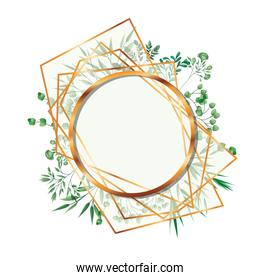 golden frame circle with foliage isolated icon
