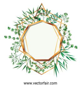 golden frame enegon with foliage isolated icon