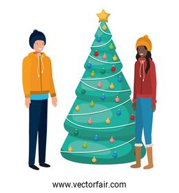 couple with christmas tree avatar character