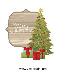 christmas tree with gifts isolated icon