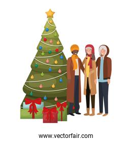 group of people with christmas tree and gifts