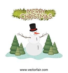 snowman with hat and garland icon