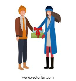 young couple with gift box avatar character