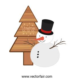 christmas tree in wood with snowman isolated icon