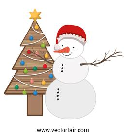 christmas tree in wood with snow man isolated icon