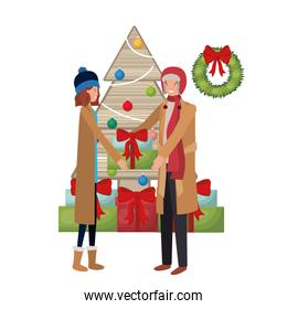 couple with christmas tree and gifts avatar character